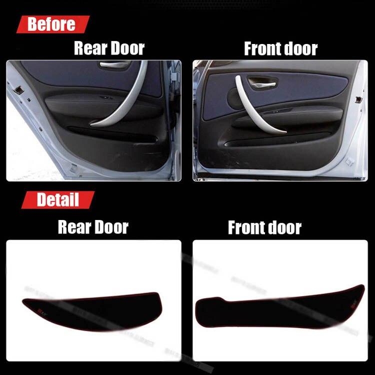 Ipoboo 4pcs Fabric Door Protection Mats Anti-kick Decorative Pads For BMW 1 Series 2012-2015 ipoboo 4pcs fabric door protection mats anti kick decorative pads for hyundai elantra 2012 2015