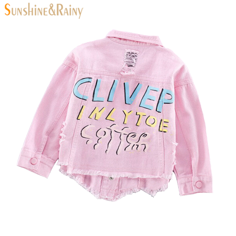 spring jacket girl jean jacket Letter Graffiti motorcycle kids coat toddler girls denim jacket Children Outwear Coats winter