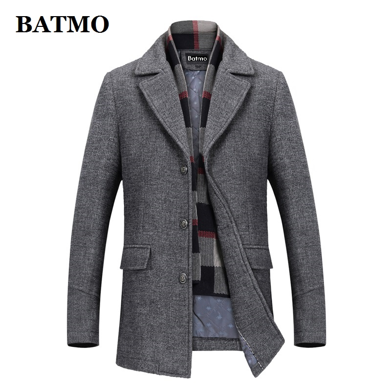 BATMO 2019 new arrival winter high quality wool casual thicked trench coat men,men's winter jackets ,plus-size 823