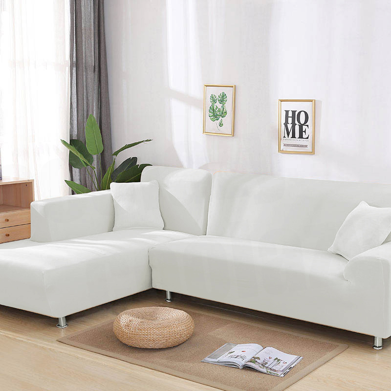 1 2pieces Solid Color White Sofa Cover