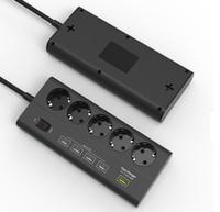 European 5 gang USB Power Strip Surge Protector Quick Charge 3.0 USB port EU extension socket 5 outlet 5 usb EU Plug Power board