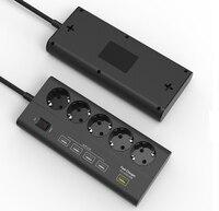 European 5 Gang USB Power Strip Surge Protector Quick Charge 3 0 USB Port EU Extension