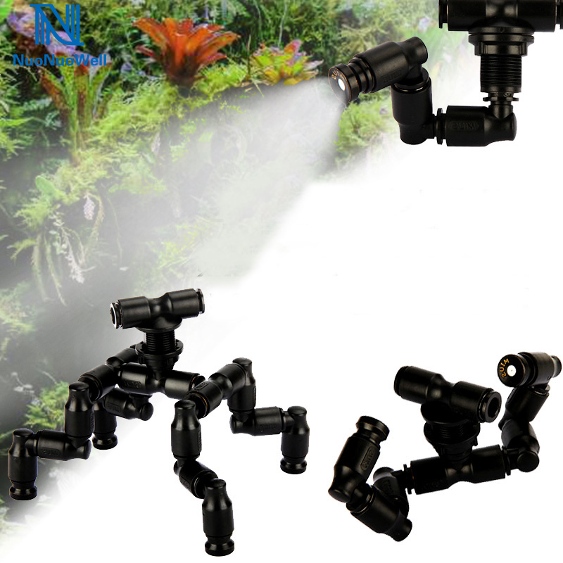 NuoNuoWell Reptiles Fogger Mist Sprinkler Rainforest Tank 360 Adjustable Aquarium Aquatic Pet Cooling System Connect 1/4'' Tube