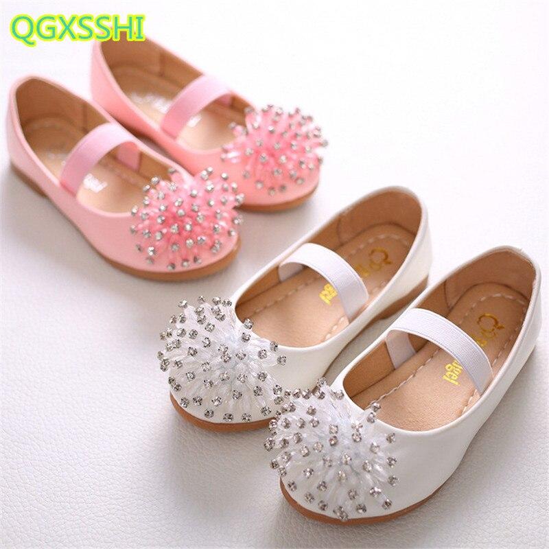QGXSSHI Elastic little girl single shoes Student princess dance performance shoes children Diamond flowers boat shoes for girls