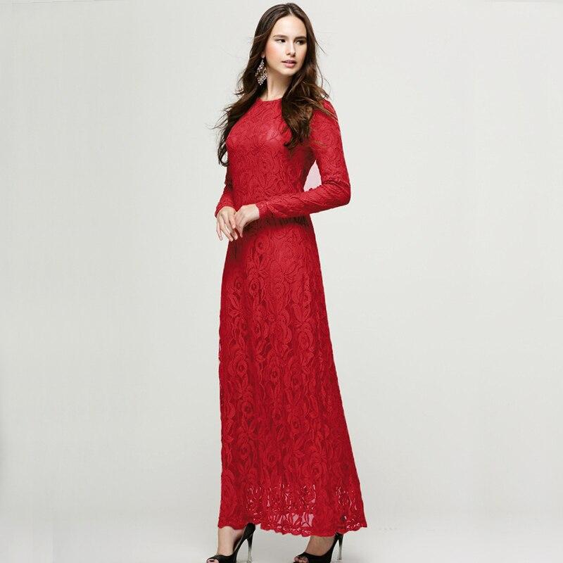 0222b6fb6a620 US $21.29 29% OFF JOGTUME Renda Jubah Arab Muslim 2017 Fashion Wanita Abaya  Islamic Gaun Kaftan Lengan Panjang Wanita Maxi Gaun Hijau Hitam Merah ...