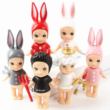 6pcs/set Sonny Angel black evil and white angel Figure Unicorn Devil Cupid Model Toy Collection Doll Toy Gift  Игрушка