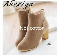 Akexiya  Plus Size Women's Autumn Winter 35-39 Shoes Solid European Women's Shoes Martin boots Suede ankle boots thick bush