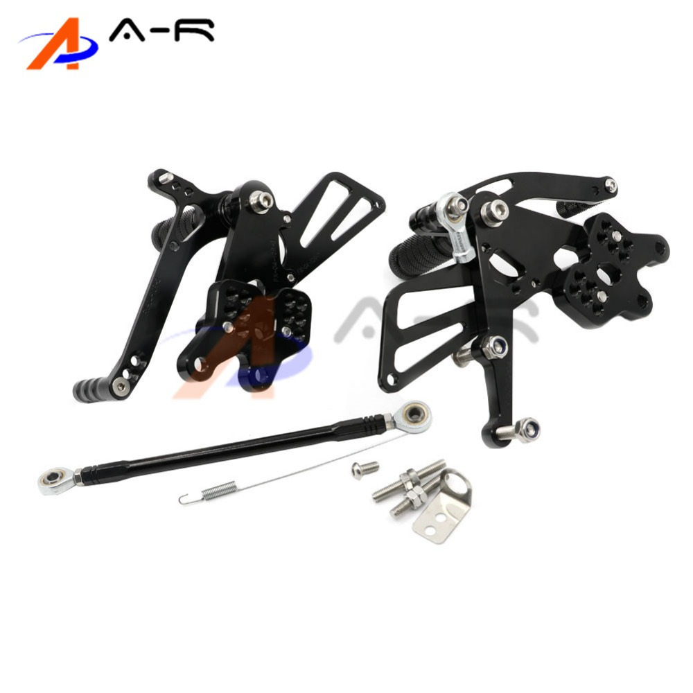 Black Motorcycle Racing CNC Billet Adjustable Rearsets Footrest Foot Pegs Rear Sets for Kawasaki ZX-10R 04-05 ZX10R 2004 2005 billet rear hub carriers for losi 5ive t