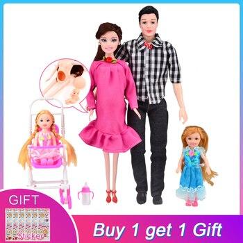 Lalka Barbie 5 osób Mama + Tata + 3 dzieci