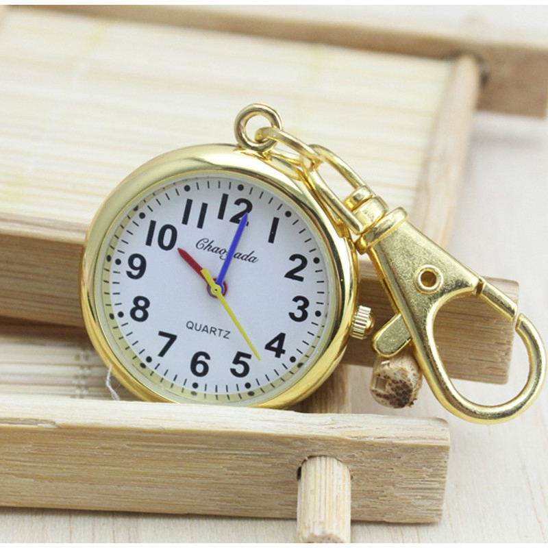 New Arrival Charming Key Chain Ring Fashion Jewelry Pocket Watch Pocket Watch Stainless Steel Quartz