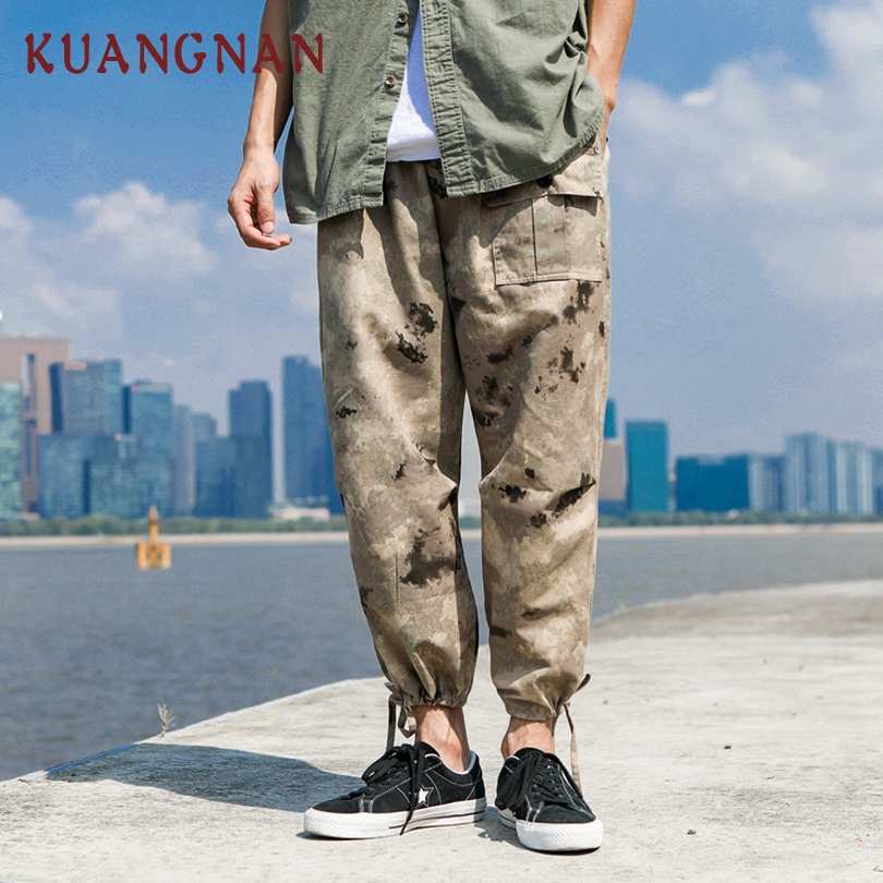 KUANGNAN Cargo Pants Japanese Streetwear Camouflage Trousers Joggers Casual 5XL Ankle-Length
