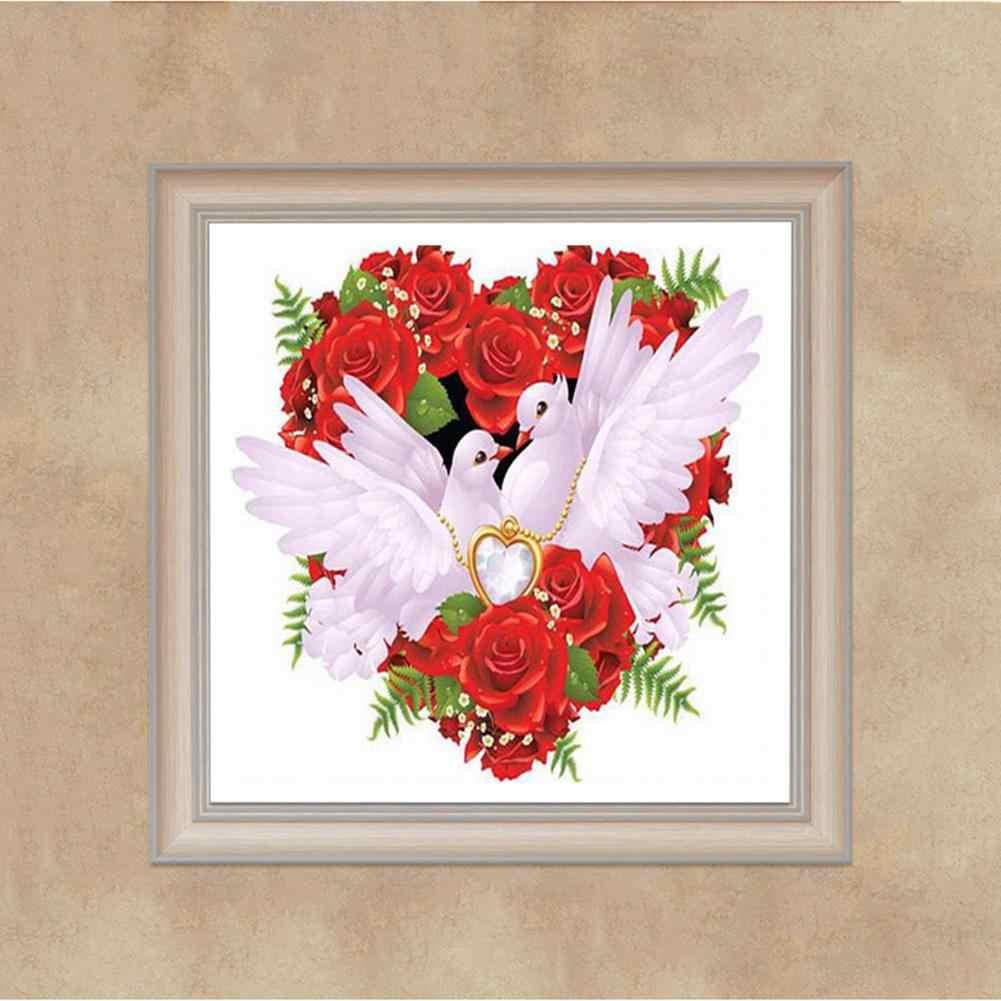 DIY алмазная живопись из смолы Алмазная картина голубь Роза вышивка крестиком полная дрель Настенный декор