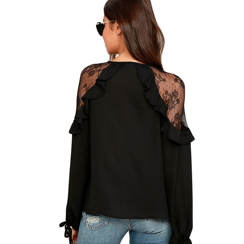 SEBOWEL Long Sleeve Ruffle V Neck Lace Tops Woman White Black Sheer Tying Cuffs Big Size for Female Blouses Shirts Size S XXL in Blouses amp Shirts from Women 39 s Clothing
