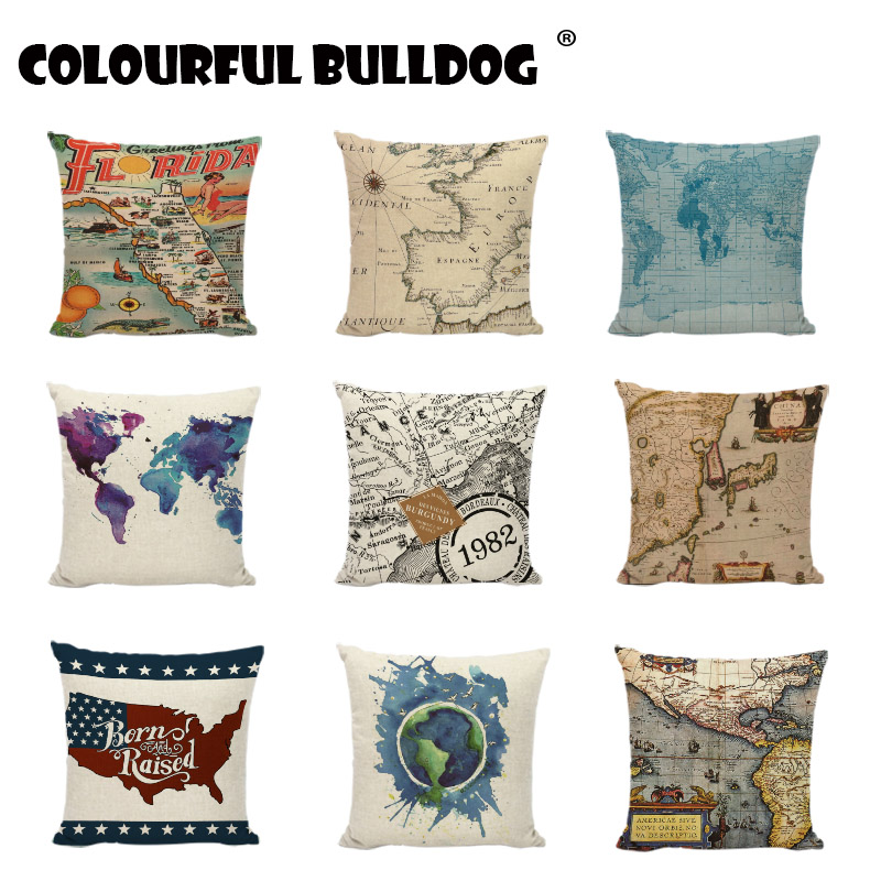 Mediterranean Nautical Cushion Covers World Map Programing Pillowcases Linen Pillow Cases Home Decoration For Couch Beauty Chair