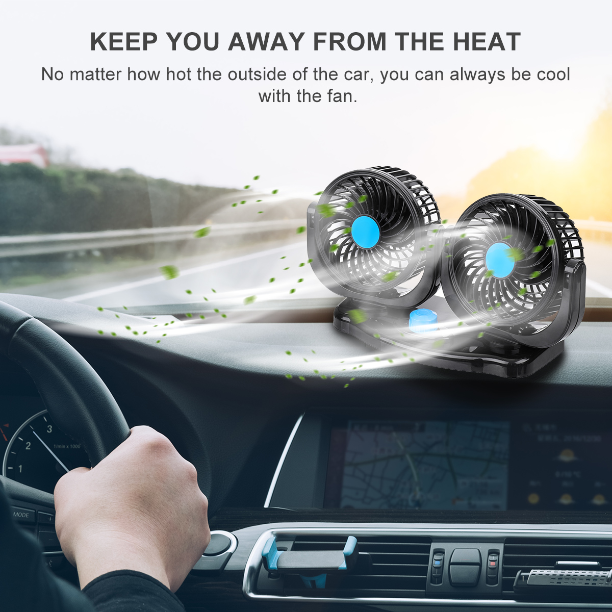 12V/24V 360 Degree All-Round Adjustable Car Auto Air Cooling Dual Head Fan Low Noise Car Auto Cooling Air Fan Car Accessor