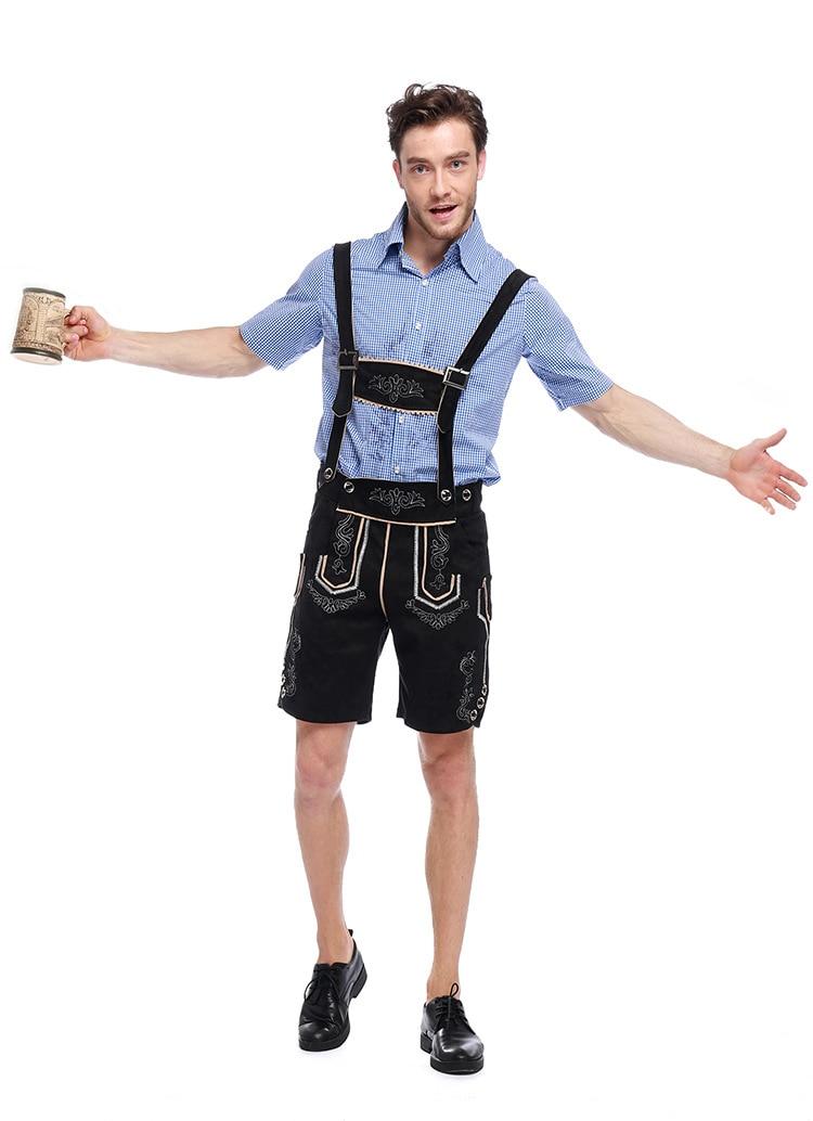 Men's Oktoberfest Costume German Beer Festival Maid Outfit Bavarian Oktoberfest Lederhosen Cosplay Costumes Clothing J15