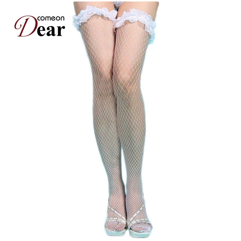 cbaa40c7dac35 Detail Feedback Questions about Comeondear Lingerie Sexy 2017 White Lace  Trim Fishnet Sexy Stocking Comfortable Knee High Socks B20572 Lady Fishnet  ...