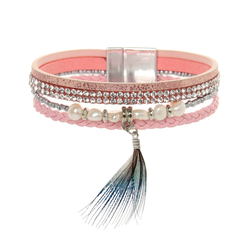 ORNAPEADIA New top Bohemia bracelet VOGUE recommended style Fashion braided multilayer feather pearls Leather bangles for women