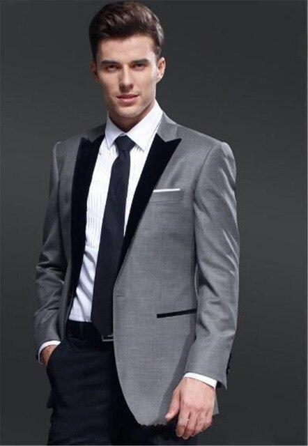 Newest Slim Fit Groom Tuxedos Grey Best man Suit Notch Lapel Groomsman Men Wedding Suits Bridegroom(Jacket+Pants) 2018 Custom