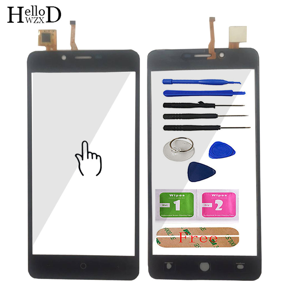 Hellowzxd painel de toque do telefone móvel touchscreen tela frontal vidro digitador do painel sensor para leagoo kiicaa ferramentas elétricas adesivo