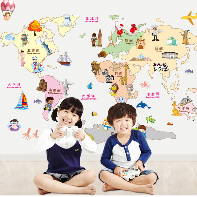 Porcellaneous wall stickers cartoon world map wallpaper paste wall porcellaneous wall stickers cartoon world map wallpaper paste wall sticker applique home decor children wall papers gumiabroncs Gallery