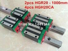 2 pcs 100% d'origine HIWIN rail HGR20-1000mm Linéaire rail + 4 pcs HGH20CA Transport cnc
