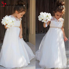 Sheer Neck Lace 2016 Lovely Flower Girl Dresses A-line Vintage Child Pageant Dresses Holy Communion Flower Girl for Wedding