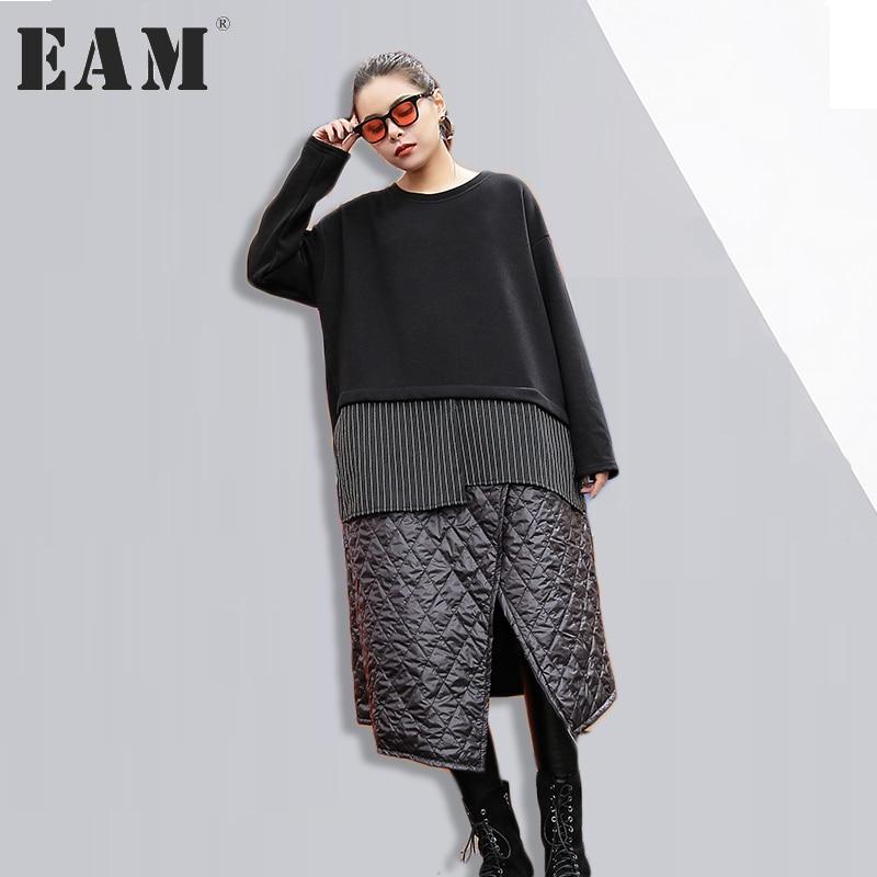 EAM new autumn winter round neck long sleeve irregular split joint black
