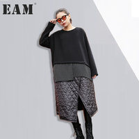 EAM 2017 New Autumn Winter Round Neck Long Sleeve Irregular Split Joint Black Solid Color