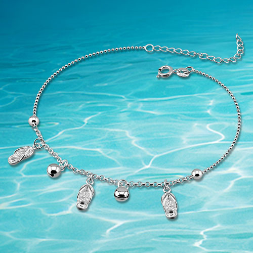 Fashion woman 925 sterling silver jewelry anklet retail for woman