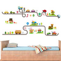 Cartoon Cars Highway Track Wall Stickers For Home Decor Living Room Children Play Room Bedroom Decoration Wall Art PVC DIY Decal