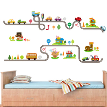 Cartoon Cars Highway Track Wall Stickers For Home Decor Living Room Children Play Bedroom Decoration Art PVC DIY Decal