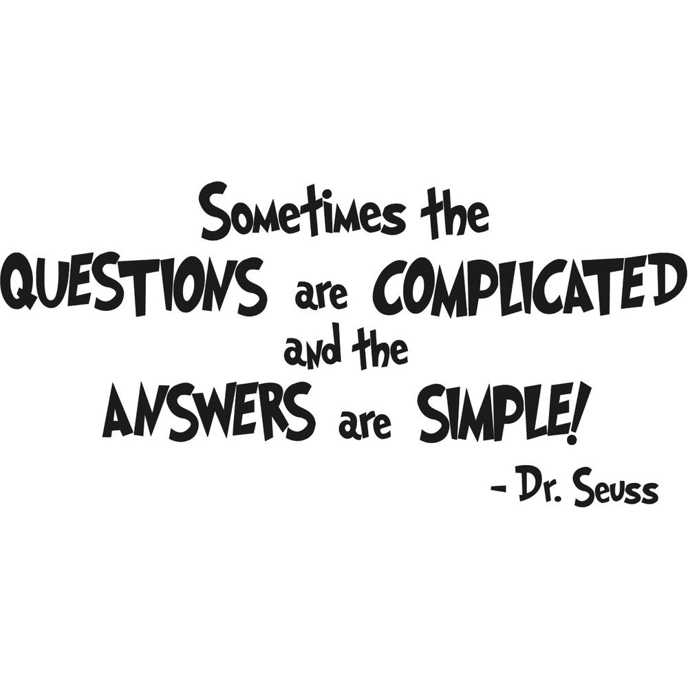 Quotes Questions Drseuss Sometimes The Questions Are Complicated Wall Art Quote