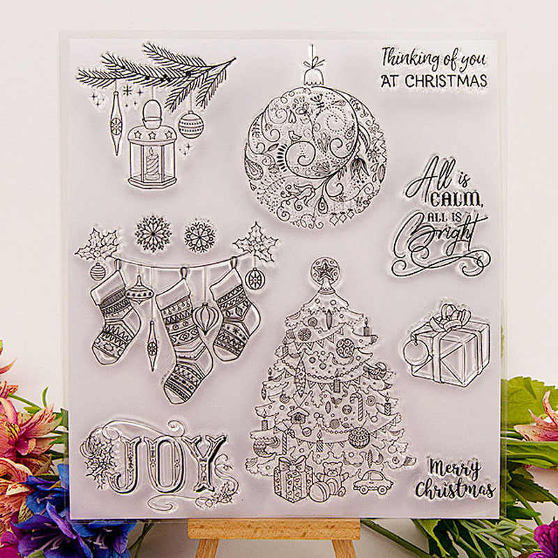 Christmas tree Snowflake stamps transparent Sock Clear rubber deer stamp for scrapbooking paper card making Party invitation DIY