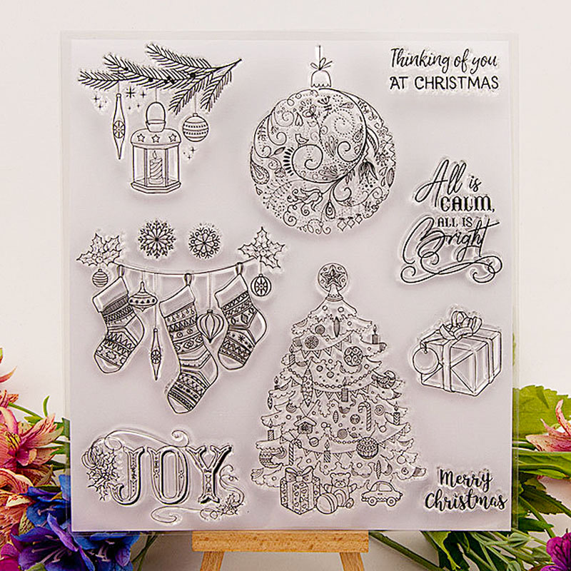 Christmas Tree Stamps Transparent Clear Rubber Stamp Deer