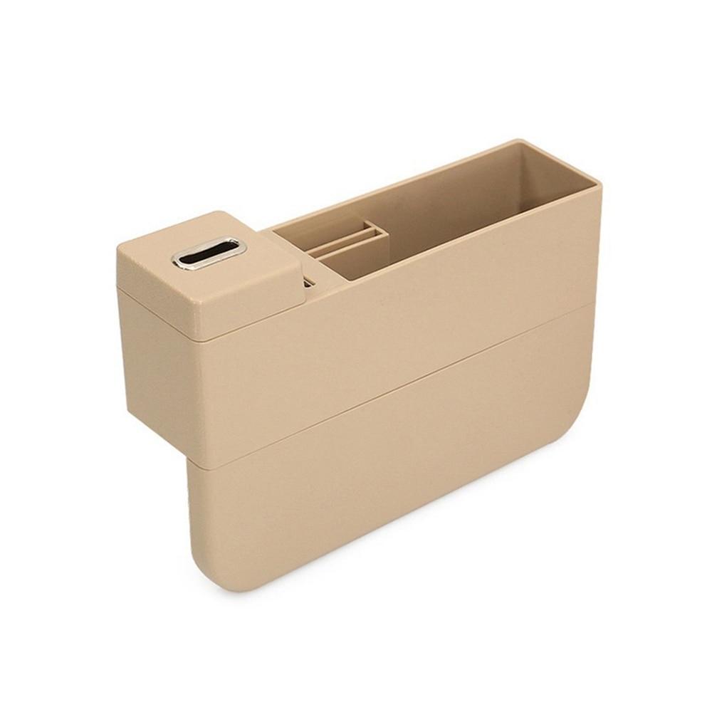 Универсальный ящик для хранения автомобильный подстаканник для сидений двойной перезаряжающийся USB интерьер для дома корзина для организации автомобиля коробка для хранения - Название цвета: Beige