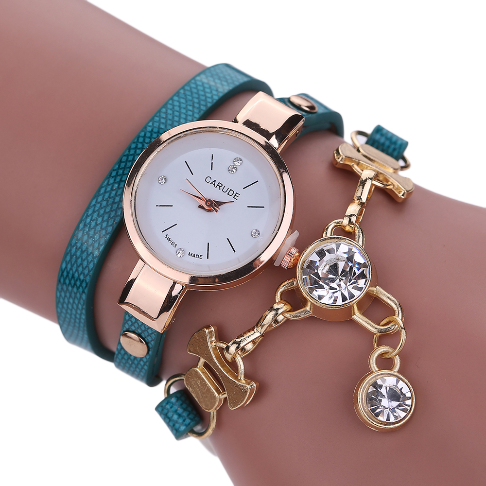 2018 Fashion Women Watch Bracelet Leather Ladies Watch With Rhinestones Analog Quartz Dress Wrist Watches Relogio Feminino Gift otoky watch women weave hand fashion bracelet watches feather analog quartz watch dress for ladies 40 gift 1pc