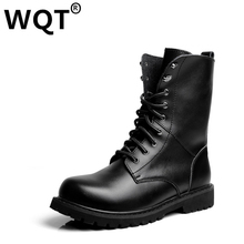 Big Size 35-49 Lovers Fashion Martin Boots Genuine Leather Shoes Men Black Botas Mujer Cowboy Motorcycle Boots Men Casual Shoes