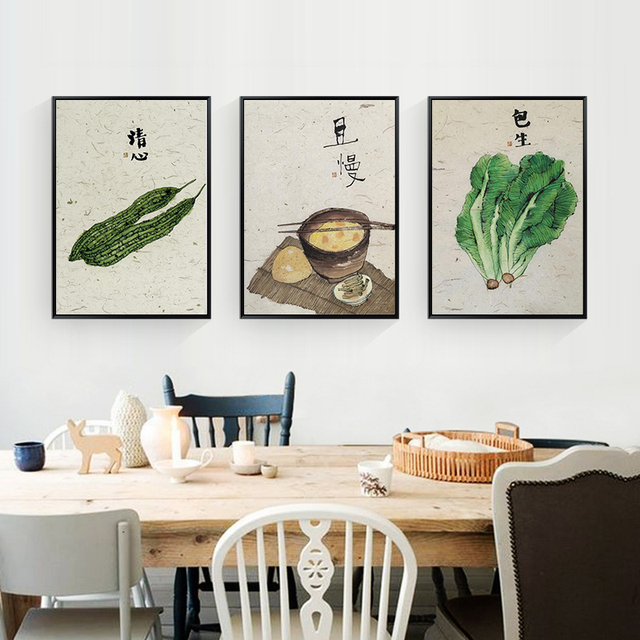 HAOCHU Classic Retro Watercolor Chinese Painting Savory Soup Canvas Painting  Dining Room Kitchen Wall Decor Pastoral