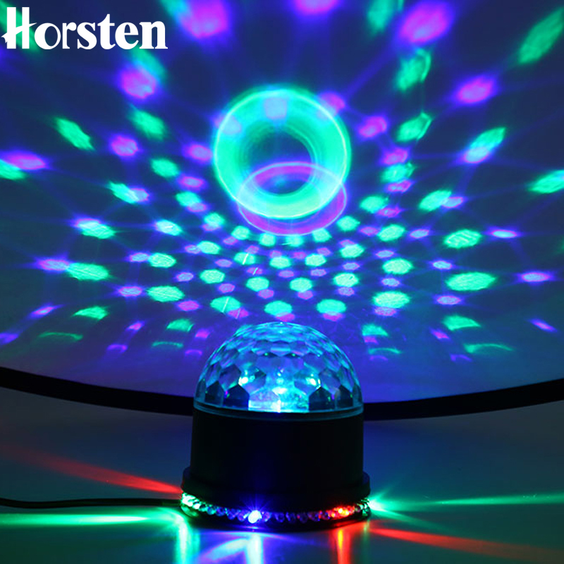 Horsten Mini 15W 48 LEDs Disco Rotating Magic Ball Lighting Color Change RGB Sound Actived Lights For Party Disco Club DJ Show