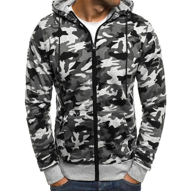 6ad4de50778cb NIBESSER Men's Hooded Camouflage Long-sleeved Jacket Men's Fashion Plus  Velvet Baseball Shirt Zipper Drawstring