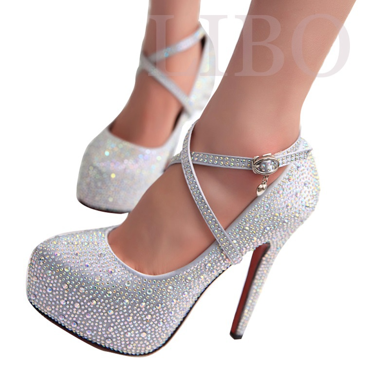 Prom Heels Wedding Shoes Women High Crystal Heel Woman Platforms Silver Rhinestone Platform Pumps In Womens From On
