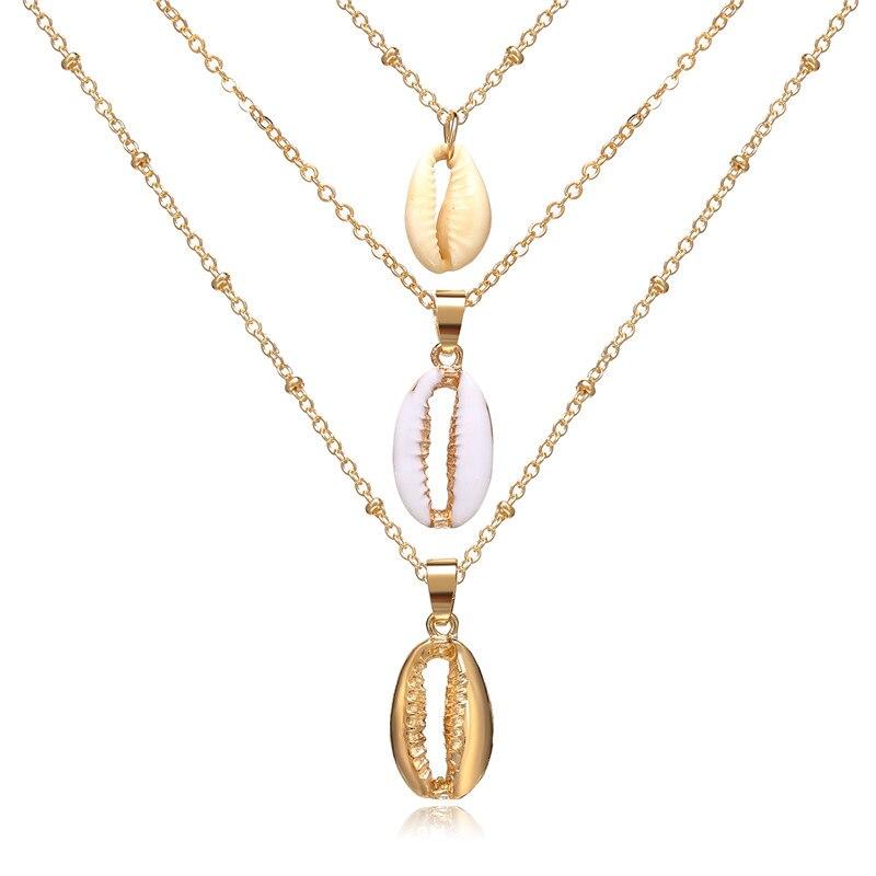 Многослойный Кристалл лунные ожерелья и кулоны для женщин винтажное очаровательное Золотое колье ожерелье богемное ювелирное изделие - Окраска металла: FCS1879
