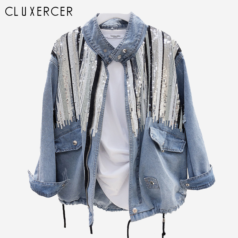 2019 New jackets for women Korea Style Long Sleeve Sequins Jean jacket Casual Loose Standing collar