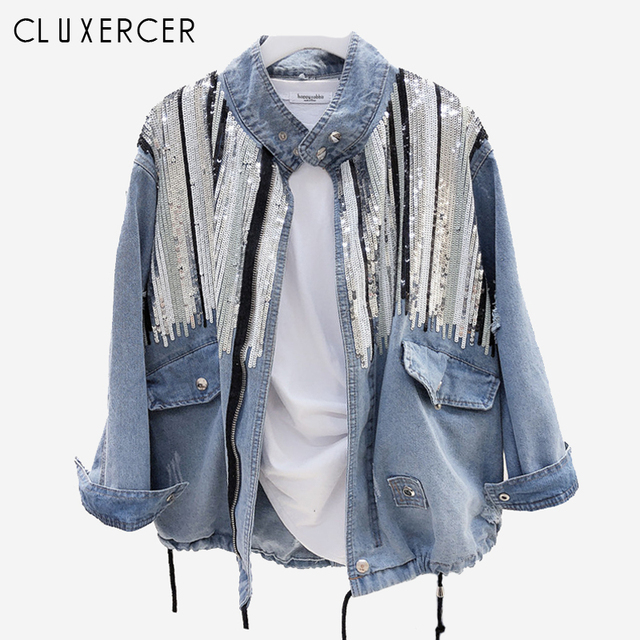 2019 New jackets for women Korea Style Long Sleeve Sequins Jean jacket Casual Loose Standing collar Spring Autumn denim jacket