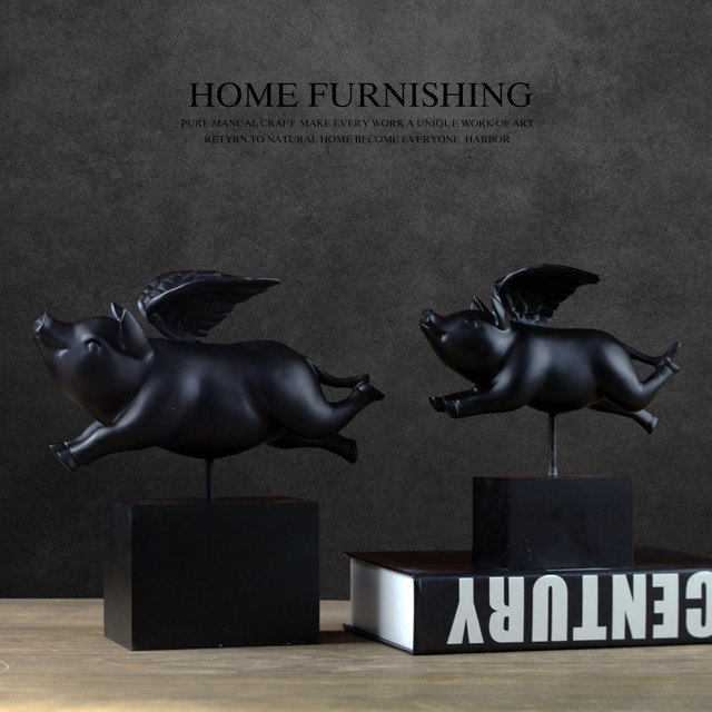 Clic Fun Have Dream Of Flying Pig Statue Furnishings Abstract Art Black White Smiling Home Decoration Crafts Sculpture