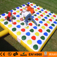 hot sale 5*5m big inflatable twister game with free CE/UL air blower and compass
