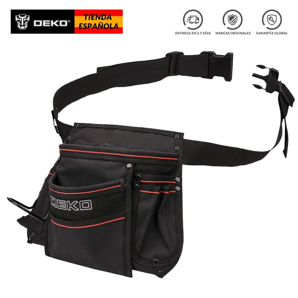 DEKO 12-pocket Waist Tool Bag 600D Oxford Cloth Waterproof Bag Large Capacity W/ Adjustable Belt