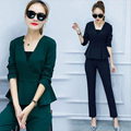 Two Piece Set Top and Pant Suit Women 2017 Autumn Spring Fashion Design Long Sleeve Womens Suits Costume Female Trousers Sets
