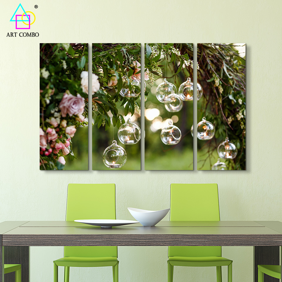4 Panels Large Wall Pictures Landscape Painting Canvas Creative ...